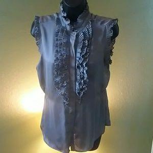 Button tux gray blouse